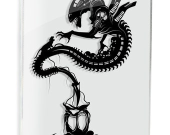 Xenomorph Alien Movie Aliens SciFi Horror Art Papercraft Ripley Face Hugger UFO Monster Art Geek Gift For Him Space Giger Art FRAMED