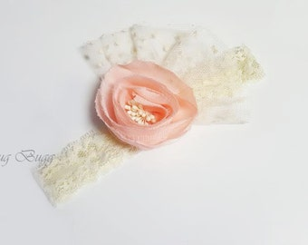 Peach - Ivory Lace Flower Headband, Baby Girl Headband, New Born Headband, Special Outfit, wedding hair  Hair Accessories