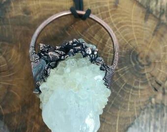 Chunky cactus quartz crystal copper electroformed pendant on adjustable black cord