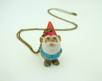 Garden gnome necklace, gnome necklace, elf necklace, gnome, elf, Christmas elf, dwarf, fantastic necklace, garden, Earthmen, fantasy jewelry