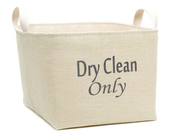 Dry Clean Only Cream Burlap Laundry Basket