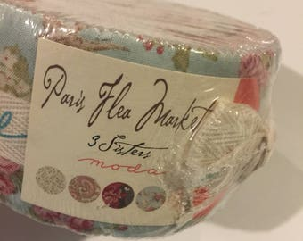 3 Sisters PARIS FLEA MARKET jelly roll cotton quilting fabric new in package moda