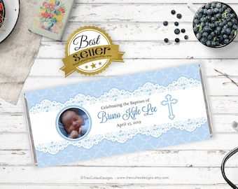 Baptism candy wrapper - photo - baptism candy bar - Baby Blue - Lace - Personalized - Printable