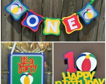 Beach Ball Party Package, Beach Ball First Birthday, Boy Beach Ball Birthday Party Decorations, Beach Ball Party in a Box