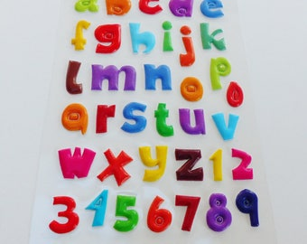36 stickers in 3D alphabet letter & number multicolor puffy raised sticker