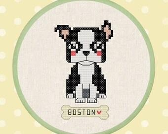 Cute Boston Terrier Cross Stitch Pattern. Modern Simple Cute Pet Dog Counted Counted Cross Stitch Pattern PDF File, Instant Download