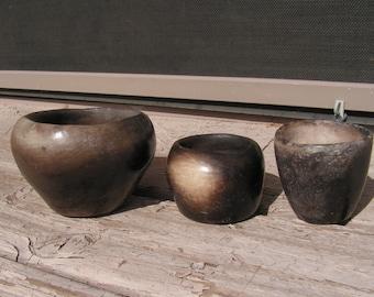 Vintage Pottery Black Clay Pottery Bowls Set Rustic Primitive Hand Formed Ceramic Signed CV