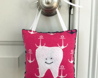 Tooth Fairy Pillow - Pink and Navy Nautical Anchors Tooth Fairy Pillow with Tooth Pocket - Ready to Ship