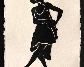 Hand-Cut Papercut Art - ISADORA DUNCAN - Modern Dance Silhouette