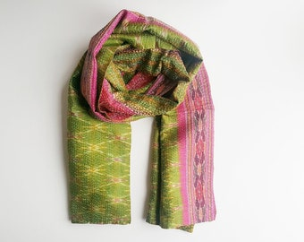 Upcycled, silk, luxury, Kantha Sari Scarf - Lime Green & Pink