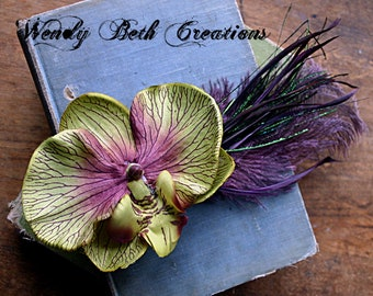 Exoctic Orchid II Hair Clip Fascinator - Steampunk, ATS, Tribal Fusion, Belly Dance, Hair Garden, Green, Olive, Ostrich Feather, Plum Purple