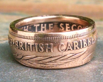Bronze Coin Ring - 1965 British Caribbean Territories Coin Ring - 2 Cents - Size: 9