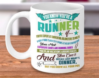 Running Mug - You Know You're a Runner If - Marathon Coffee Cup - Funny Gifts for Runners - Celebrate a Successful Boston or RunDisney Race!