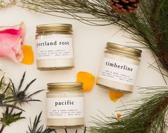 Northwest Soy Candle Gift Set - Three Soy Candle Gift Set - Oregon Washington Portland Pacific - Custom Bridesmaid Shower Gift - Custom Gift