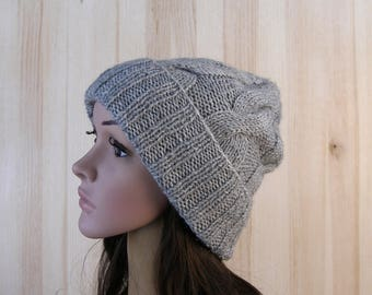 Gray Womens Winter Hat Gray Chunky Slouchy Beanie Hat Women Slouch hand knit Hat