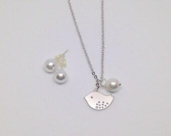 Little bird flower girl necklace & stud earrings gift set, flower girl gift set, bridesmaid gift jewelry
