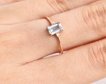Emerald Cut aquamarine ring in solid 18k rose gold, Diamond Engagement Ring, Alternative Engagement Ring