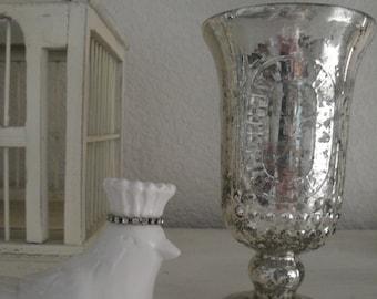 Shabby Chic Vintage Inspired Silver Mercury Glass Vase w/ Fleur De Lis...Gorgeous