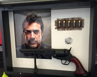 The Colt from Supernatural John Winchester Replica Dean and Sam Gun with devil trap bullets Shadow Box Custom Christ