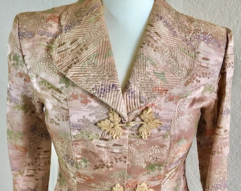 RARE 1940 DRESS COAT Gorgeous Full Length Pink Champagne Color Japanese Silk Brocade 4 6