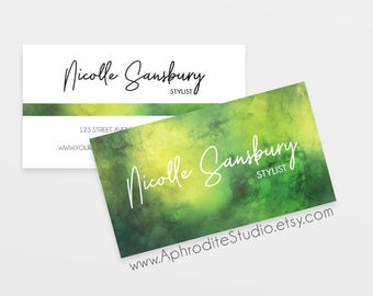 Business cards - Watercolor business cards - Printable business cards - Pre-made business cards - stylist business cards - watercolor cards