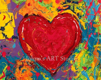 wall art, Will & Grace art, Red Heart wall art, Abstract Heart wall art, Gift for sweetheart, Heart Print by Johno Prascak of Pittsburgh