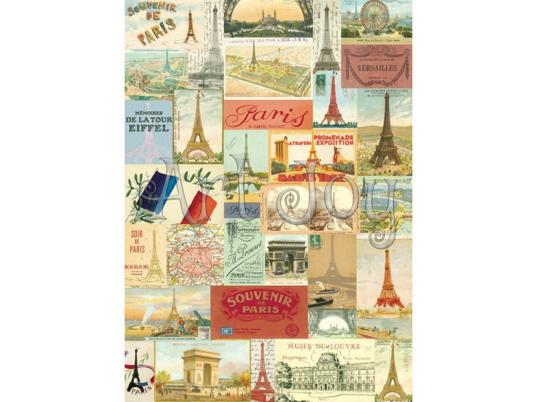 Paris Print, Paris Wall Decor, Eiffel Tower, Decoupage Paper ...