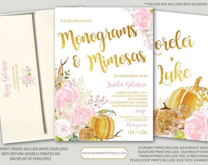 Fall Monogram Invitatio and Mimosas // Pumpkin Bridal Shower // Floral // Fall in Love // Pink // Gold // Watercolor // CARMEL COLLECTION
