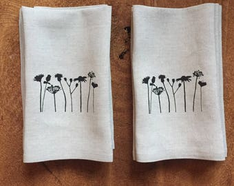Black Wildflowers Screen Printed Dinner Napkins on 100% Linen, Set of Four, Hostess Gift, Wedding Gift, Mothers Day Gift