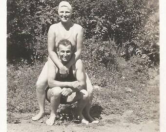 "Vintage Snapshot ""Foolin' Around"" Pretty Girl Swimsuit Bathing Cap Found Photo"