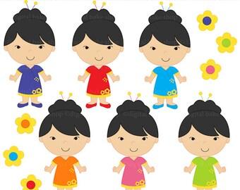 china dolls clipart digital clip art girls chinese - China Dolls Digital Clip Art - BUY 2 GET 2 FREE