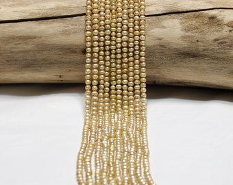 Gold Tone Freshwater Pearl Strand Loose Pearls Jewelry Supply Beading Supplies Cultured Genuine Pearls Potato Pearls Canadian Seller