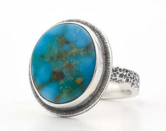Turquoise Ring, Kingman Turquoise, Blue Turquoise Ring, Sterling Silver Ring, Turquoise Jewelry, Handmade Silver Ring, Southwestern Jewelry