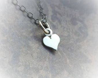 Itty Bitty Heart Charm-925 Sterling Minimalist Heart-Valentines Day Necklace-Dainty Heart-Delicate 925 Oxidized Chain-Bright Silver Heart