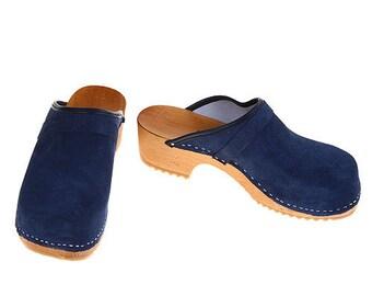 Suede Leather Clogs blue