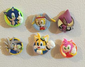 Handmade Sonic  Fridge Magnet Set 6 pcs