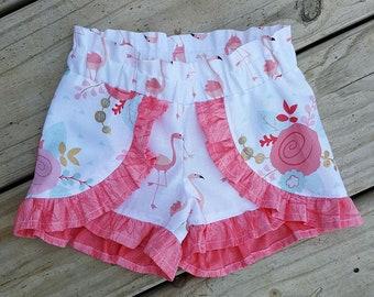 Flowers and Flamingo ruffle shorts