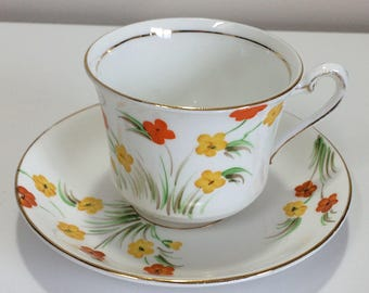 Vintage Phoenix English Tea Cup and Saucer Hand Painted Orange Yellow Flowers