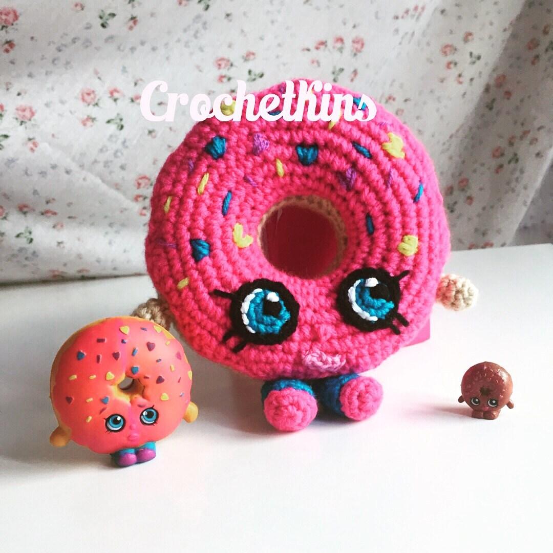 Shopkins Crochet Pattern - D\'lish Donut, Crochet Donut dessert pink ...