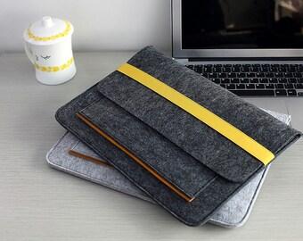 "Elastic Band Closure Felt Touch Bar 15"" Macbook Pro Sleeve , Felt 15 inch Laptop Case , Felt Macbook Pro 15 Sleeve , 15 inch Laptop Bag #210"