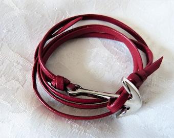 Mens leather bracelet, anchor silver metal