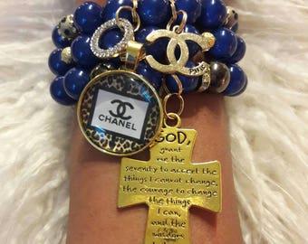 Bracelet, Beaded Bracelets, Charm Bracelet, Stack Bracelets, Accessories, Jewelry, Gift Idea, Serenity Prayer Cross, Stretch Bracelet