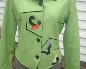 Art To Wear 1980s Canvasbacks Cropped Jacket Size 4
