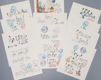 Encourager Card Set,Journaling,tip-ins,cards,birds,Jesus,faith,friendship,handmade,hand drawn, hope, encouragement, self esteem,love