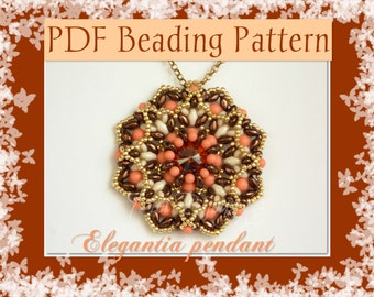 DIY Beading pattern Elegantia pendant with superDuo beads / PDF tutorial with detailed instructions step by step, images and diagrams