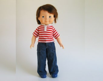 Vintage My Friend Mikey Boy Doll with 3 Outfits by Fisher Price 1981 205 1980s blue jeans, knit shirt, shoes, jogging suit, baseball uniform
