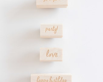 Rubber Stamp - Add On - Choose From happy birthday, love, xoxo and party!