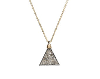 Genuine Diamond Triangle Necklace Geometric Trend Mother's Day Gift For Her April Birthstone Mixed Metal Sterling Silver Unique Jewelry