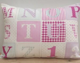 Pink ABC Pillow, Alphabet Cushion, Girls Pink Decor Cushion, Nursery Pillow, ABC Cushion, Children's Nursery Pillow, Baby Gift Cushion