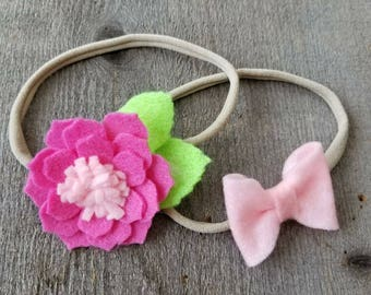 Floral and Bow Headband pack, Hot Pink Flower Headband, Felt Flower Headband, Felt Bow Headband, Felt Headband, Pink Flower Headband